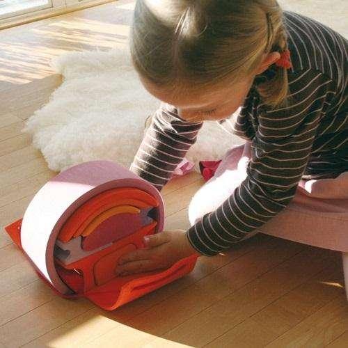 Puppenhäuschen - Bauhaus in rosa-orange