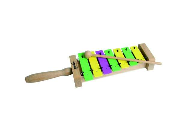 Metallophon mit Griff, 7 bunte Klangplatten