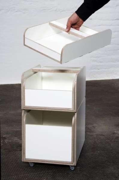 """Rollcontainer zum """"growing table"""" dem mitwachsenden Kindertisch in Birke HPL weiß beschichtet"""
