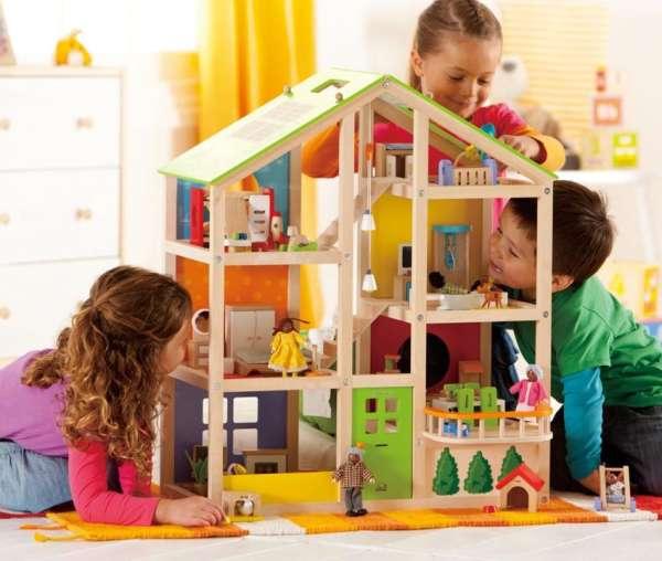 Modernes Puppenhaus - Vier-Jahreszeiten-Haus mit Möblierung