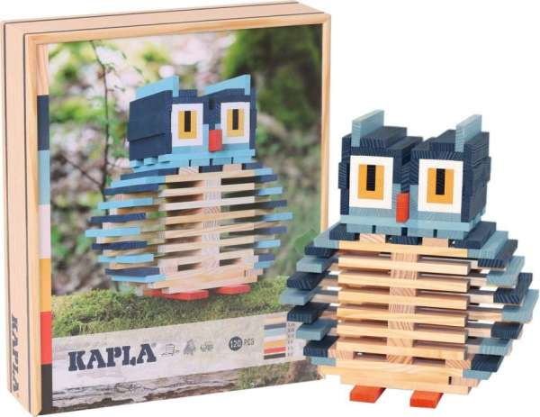 KAPLA® Eule Motivbaukasten - 120 naturfarbene und farbige Bauplättchen im Holzkasten - KiTa-Spielewelt