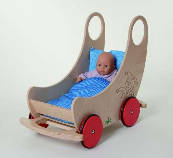 Puppenwagen aus Holz natur