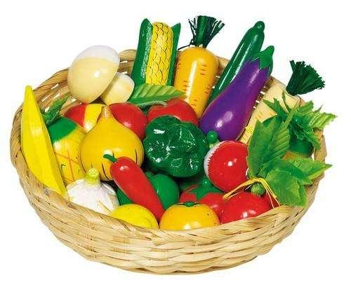 Obst und Gemüse im Korb - Kaufladenzubehör