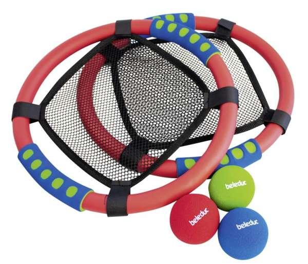 Netzball Set - Kunststoffringe mit Schaumstoffgriff, 3 Soft-Bälle - KiTa-Spielewelt