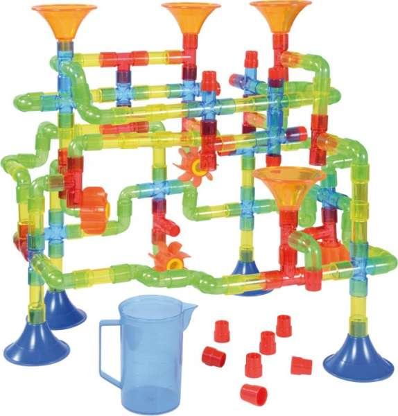 Wasserbahn-Set 150 Teile mit Röhren, Trichtern, Wasserrädern, Messbecher - KiTa-Spielewelt