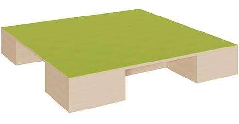 Podest Quadrat groß, 3 Aussparungen für Rollkästen