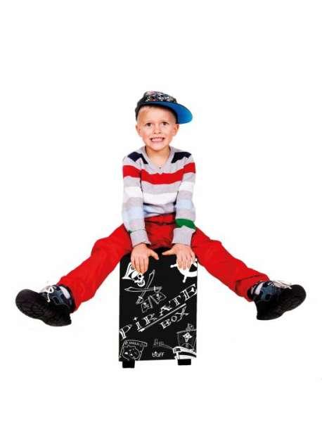 Cajon Piratenbox - Kinderhocker/Kindertrommel - snare und bass, Sitzhöhe 38 cm
