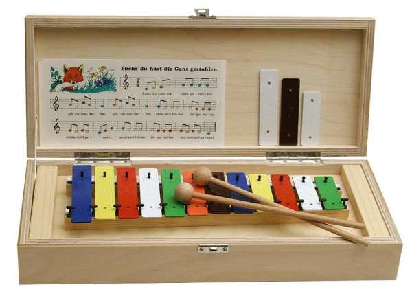 Metallophon , 15 Klangplatten, Holzbox