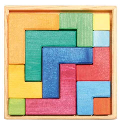 Holz Legespiel 4-eck, 12 Teile im Holzrahmen