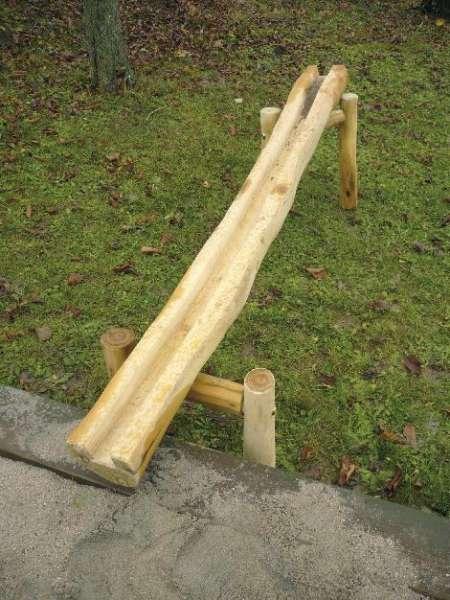 Abenteuer-Wasserspiel-Platz Rinne 150 cm lang, Holz Robinie