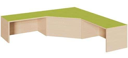 Schenkelpodest groß, 2 Aussparungen für Rollkästen, Linoleumbelag, 3 Höhen