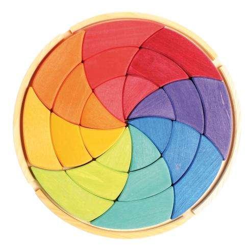 Grimms Legespiel Goethes Farbkreis, groß 24 Teile im Holzrahmen