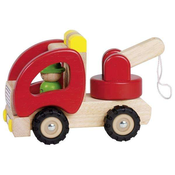 Abschleppwagen aus Massivholz mit echter Gummibereifung