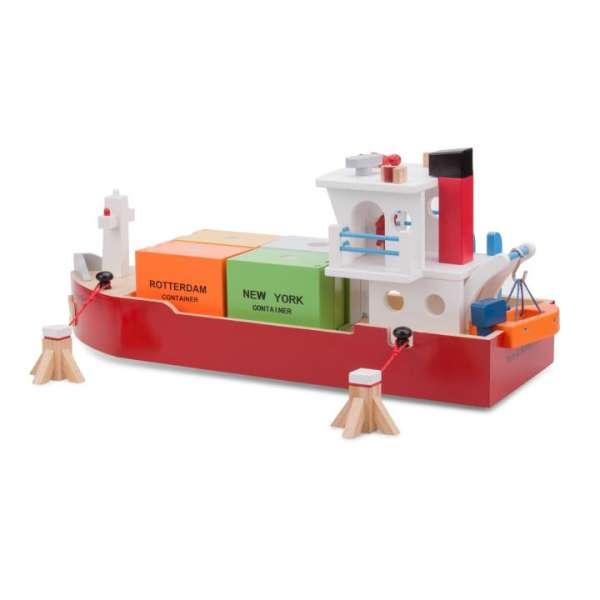 Containerschiff - Spielschiff aus Holz mit 4 Containern