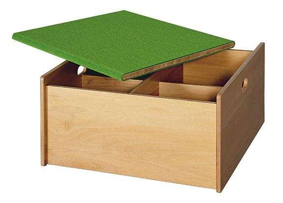 Spielpodest Quadrat Büchertrog mit Deckel