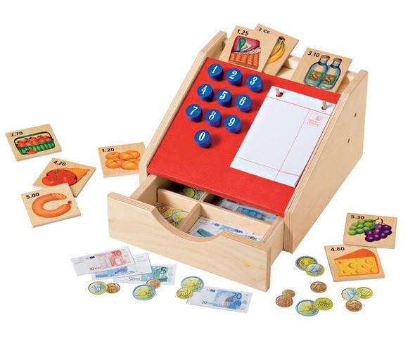 Selecta große Holz-Kasse Kaufladenzubehör